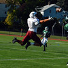 Ayer Shirley wide receiver Kyler Johnson makes a leaping bid at a pass in the third quarter of Saturday's 14-12 loss to Burncoat.<br /> NASHOBA PUBLISHING/ED NISER