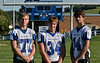 L-R Derek Bird, Brandon Hodges and Levi Brewster. Hoosick Falls Football practice. (Mike McMahon / The Record) 08/23/13