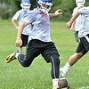 Joe Germinerion kicks off at First day of high school football practice at LaSalle high school in Troy, Monday August 18, 2014 (MIKE McMAHON - mmcmahon@digitalfirstmedia.com)