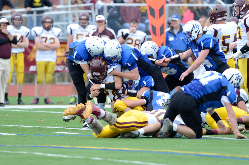 J.S.CARRAS/THE RECORD  Hoosick Falls  against Fonda during second quarter of Section II class C semi-final football action Saturday, November 2, 2013 at Stillwater High School in Stillwater, N.Y..