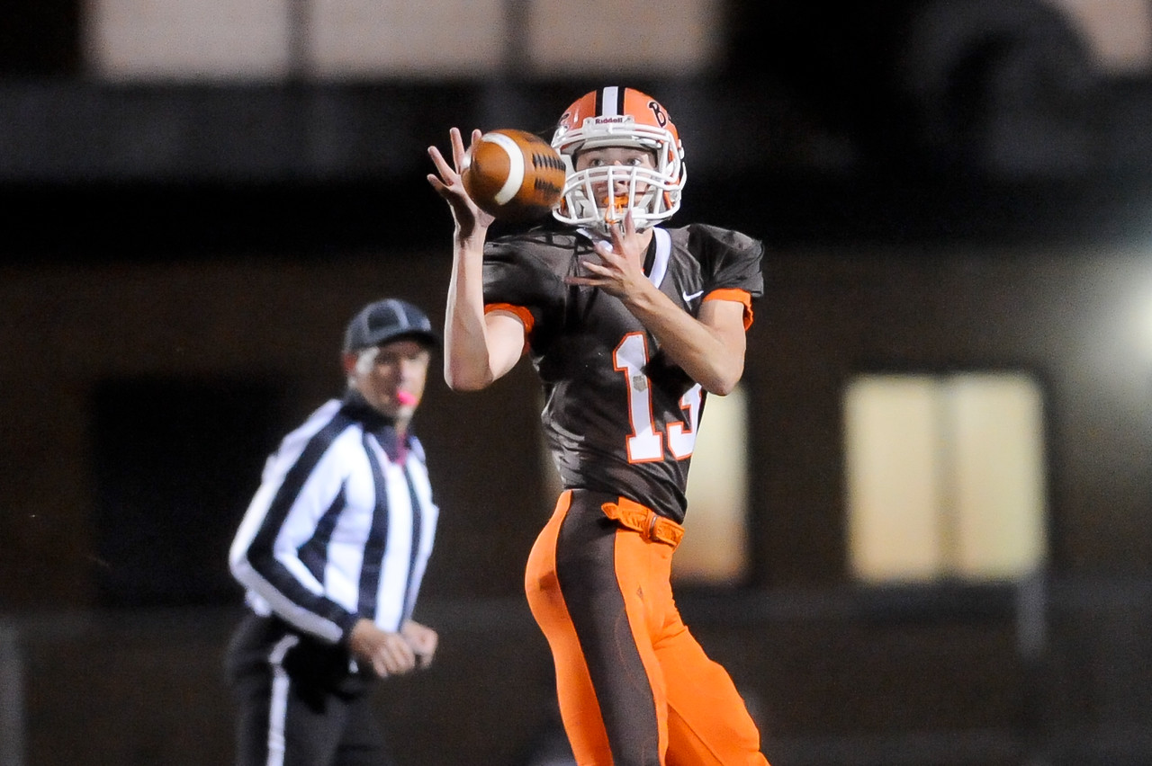 Buckeye's Keaton Sandor catches a ball for a 38 yard play in the second quarter Friday night. JUDD SMERGLIA / GAZETTE