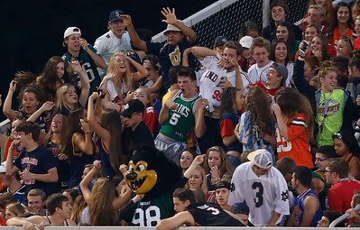 The Swarm, sporting a jersey theme, cheers during the second quarter against Strongsville. (RON SCHWANE / GAZETTE)