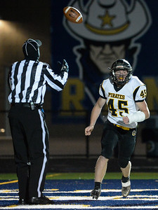 Black River's Jake Campbell (45) celebrates after scoring a rushing touchdown in the first quarter of Friday's playoff game against Wickliffe at North Ridgeville High School. Black River won 44-6. (NICK CAMMETT/GAZETTE)