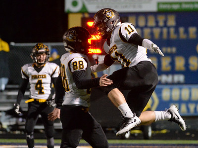 Black River's Riley Gibbs (11) and Brandon Scheck (88) celebrate a rushing touchdown by Gibbs in the second quarter of Friday's playoff game against Wickliffe at North Ridgeville High School. Black River won 44-6. (NICK CAMMETT/GAZETTE)