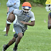 MIKE McMAHON - mmcmahon@digitalfirstmedia.com, Troy High School transfer DiKeem Edmundson First day of high school football practice at LaSalle high school in Troy, Monday August 18, 2014