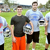 MIKE McMAHON - mmcmahon@digitalfirstmedia.com,  Returning starters Dan Tacci, Stephen Jordan Bailey Haskin, and Nick Rai. First day of high school football practice at LaSalle high school in Troy, Monday August 18, 2014