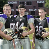 MIKE McMAHON - mmcmahon@digitalfirstmedia.com, L-R Adam Dahl CCHS, Brendan Maloney Notre Dame Bishop Gibbons, Jake Van Patten. The combined Bishop Gibbons, Spa Catholic and CCHS football team practicing at Notre Dame Bishop Gibbons High School in Schenectady, Tuesday August 26, 2014.