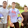MIKE McMAHON - mmcmahon@digitalfirstmedia.com,  Troy High School transfers DiKeem Edmundson, Joe & John Germinerio. First day of high school football practice at LaSalle high school in Troy, Monday August 18, 2014