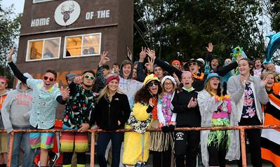 Buckeye high school students celebrate a touchdown as the Bucks take on Wellington. Photo by Aaron Josefczyk