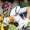 J.S.Carras/The Record  Burnt Hills Packy Brown races to the end zone after making reception against Troy during second quarter of Section II class A semifinal high school football action Friday, November 1, 2013 at Troy High School in Troy, N.Y..