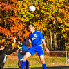 Leominster's  Sean Kenney heads the ball out of danger during Tuesday's match at North Middlesex. Nashoba Valley Voice/Ed Niser
