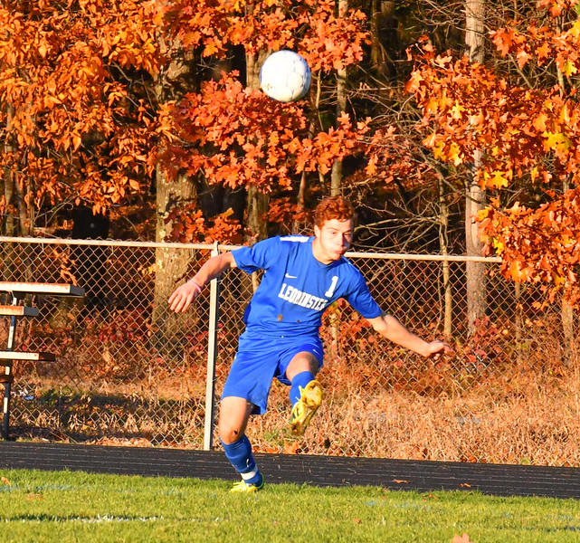Leominster's  Facundo Cotto takes a free kick during Tuesday's match. Nashoba Valley Voice/Ed Niser
