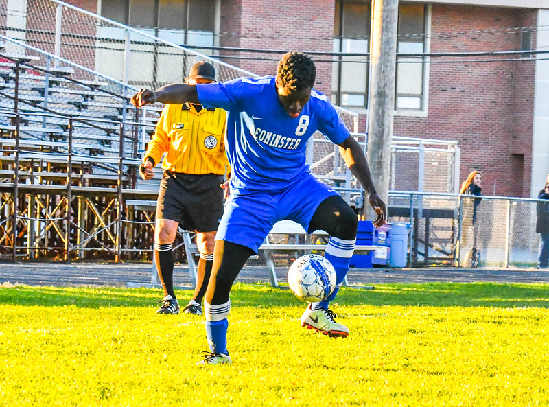 Leominster's Kelvin Amuma dribbles the ball during Tuesday's win at North Middlesex. Nashoba Valley Voice/Ed Niser