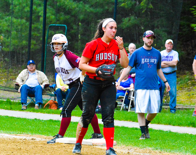 Groton-Dunstable's Lauren Thorburn peers on from first base. <br /> Nashoba Valley Voice/Ed Niser