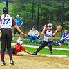 Groton-Dunstable second baseman Laura Bieren fields a throw from first baseman Helen Kilian.<br /> Nashoba Valley Voice/Ed Niser