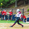 Groton-Dunstable's Lauren Thorburn wraps a single during Friday's loss to Hudson.<br /> Nashoba Valley Voice/Ed Niser