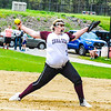 Groton-Dunstable pitcher Sarah Woods winds up during Friday afternoon's loss to Hudson. Nashoba Valley Voice/Ed Niser