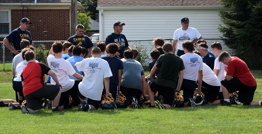 . Allen Park Cabrini officially kicked off the MHSAA football season with an afternoon practice on Monday. The Monarchs will host night games this season, as lights were installed at their field this summer. (Photo Gallery by Frank Wladyslawski)