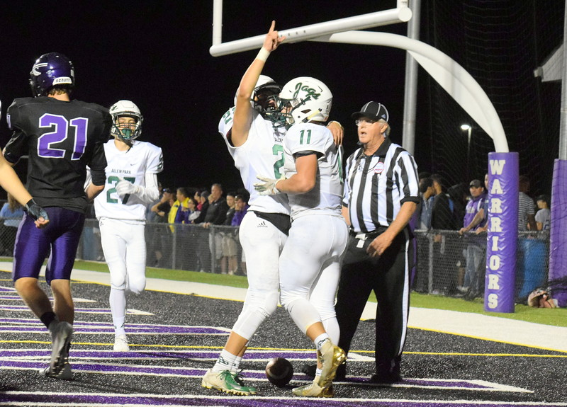 Allen Park headed to Woodhaven on Friday night and defeated the previously unbeaten Warriors by a score of 21-7. With the win, the Jaguars pulled into a first-place tie in the Downriver League with the Warriors, Gibraltar Carlson and Trenton. Frank Wladyslawski - Digital First Media