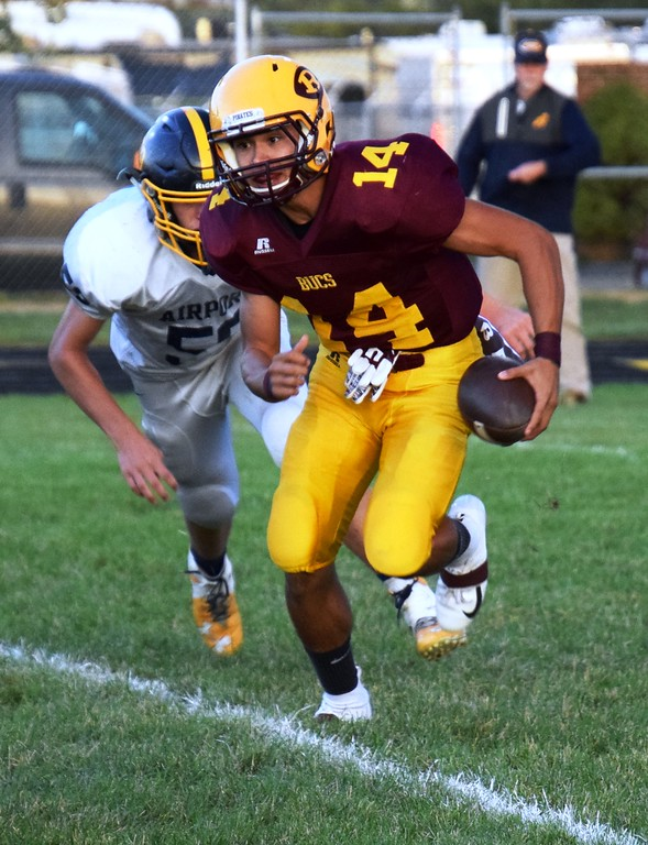 . Riverview quarterback Dominic Wood rushed for a touchdown on Friday night in his team\'s 20-9 victory over visiting Carleton Airport. Alex Muller - Digital First Media
