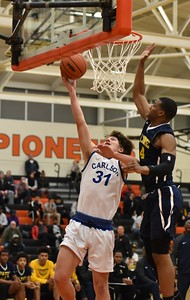 Gibraltar Carlson took on Wayne Memorial on Monday night in the Class A,  Region 7 semifinals at Dearborn High. The Marauders ultimately fell by a score of 65-46. Photo by Alex Franzen - For The News-Herald