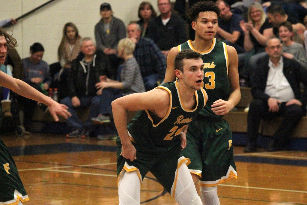 . Flat Rock defeated Dundee by a score of 56-48 on Monday night in a Class B regional semifinal at Carleton Airport. The Rams moved on to face Divine Child on Wednesday for the title. Photo by Ricky Lindsay - For The News-Herald
