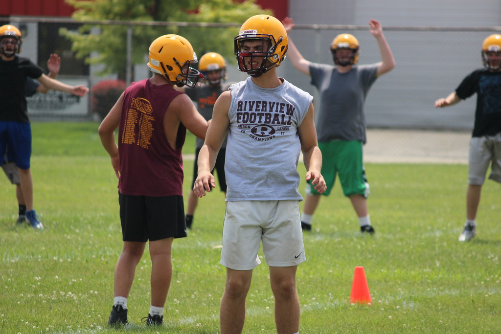 . After a run to the state semifinals in 2017, Riverview got back to work on Monday on what was the first day of high school football practice in Michigan. Ricky Lindsay - Digital First Media