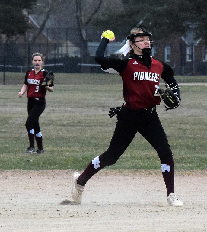 . Riverview Gabriel Richard headed to Dearborn Divine Child on Friday for a doubleheader. The  Falcons won the first game by a score of 9-4 and the Pioneers won the second game 6-4. Photo by Alex Muller - For  Digital First Media
