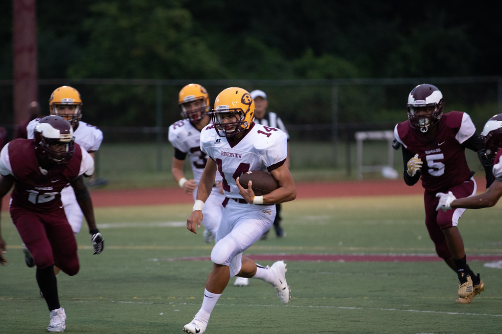 . Riverview quarterback Dominic Wood rushed for 107 yards and a touchdown at Romulus on Friday night in the Pirates\' 42-12 victory. Jack VanAssche - For Digital First Media