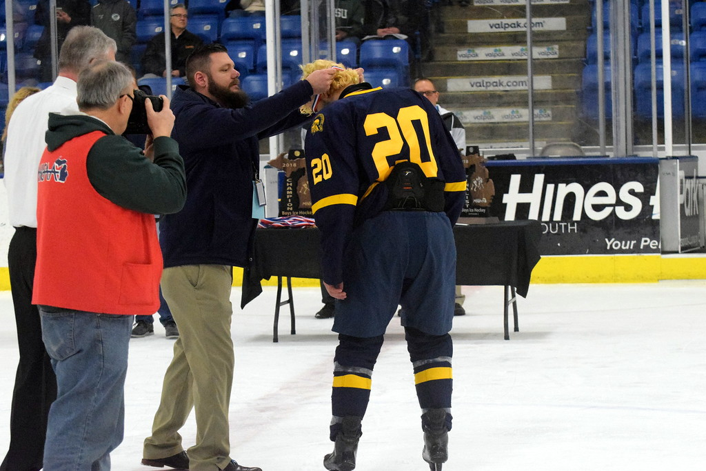 . Trenton took on Hartland in the Division 2 state championship game on Saturday morning at USA Hockey Arena in Plymouth. The Trojans ultimately suffered a 4-2 defeat in what was the program\'s 21st appearance in the state finals. Photo by Frank Wladyslawski - The News-Herald