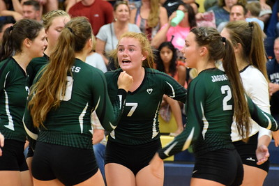 Wyandotte Roosevelt hosted Allen Park on Tuesday night and defeated the rival Jaguars in a match that went to five sets. Photo by Frank Wladyslawski - The News-Herald