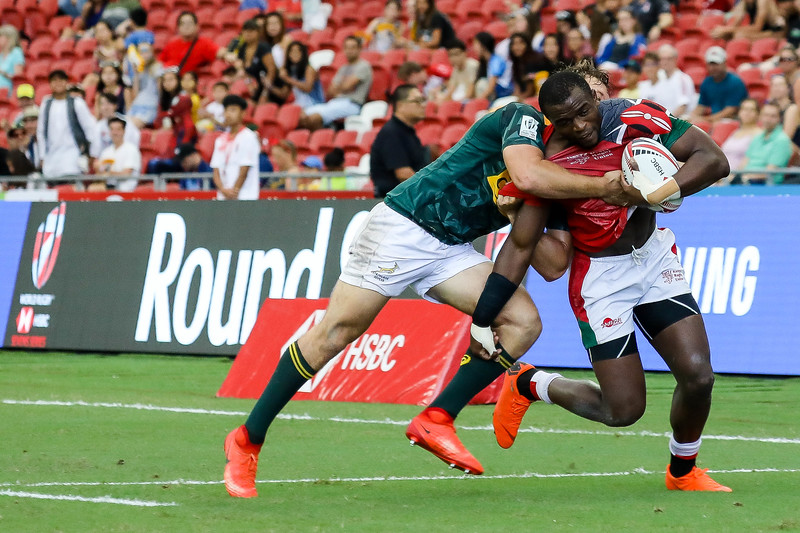 Champions of 2018 HSBC Rugby 7s, Kenya Vs South Africa, on 29th April 2018, at National Stadium, Singapore. Photo by Sanketa Anand/SportSG