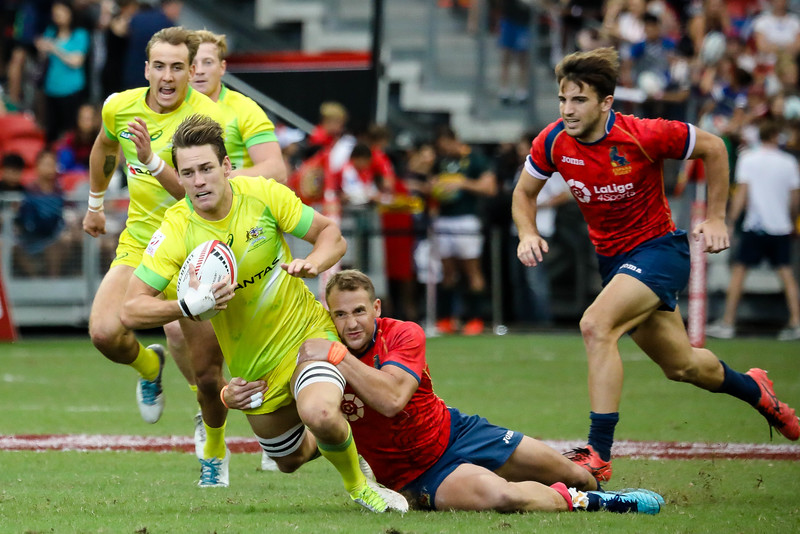 Champions of 2018 HSBC Rugby 7s, Australia Vs Spain, on 29th April 2018, at National Stadium, Singapore. Photo by Sanketa Anand/SportSG