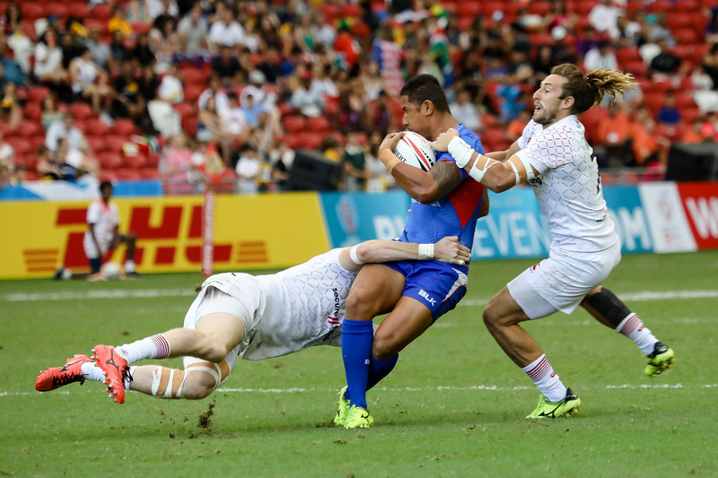 Champions of 2018 HSBC Rugby 7s, England Vs Samoa, on 29th April 2018, at National Stadium, Singapore. Photo by Sanketa Anand/SportSG