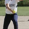 KEN YUSZKUS/Staff photo.  Hamilton-Wenham's pitcher McKenzie Plante throws from the pitcher's mound at the Essex Tech at Hamilton-Wenham softball game.   5/18/15