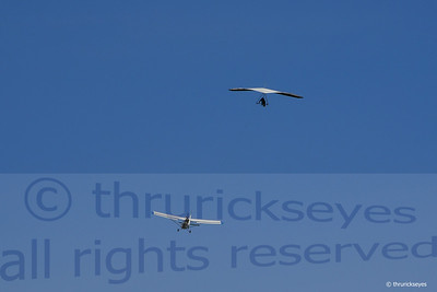 The view from the landing zone as a glider is towed aloft.