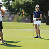Globe/T. Rob Brown<br /> Kylie Carnes of Carl Junction (left) reacts to not quite making her putt Tuesday morning, July 16, 2013, at Schifferdecker Golf Course during the Southwest Missouri Junior Golf Association Harold Kirk Junior Golf Tournament. Fellow junior golfer Gracie Lopez of Carthage looks on at right.