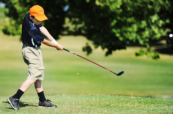 Globe/T. Rob Brown<br /> Payton Choate of Carthage, tees off on the first hole Tuesday morning, July 16, 2013, at Schifferdecker Golf Course during the Southwest Missouri Junior Golf Association Harold Kirk Junior Golf Tournament.