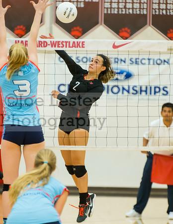 HW Girls Varsity Volleyball vs Marymount 9-22-16