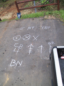"""Trail Reading Demo"" I shot this photo of some sample trail marks after Square Root led a brief seminar."