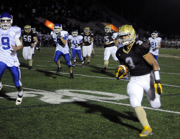 CARL RUSSO/Staff photo. Haverhill defeated Methuen 41-20 in Friday night football action. Haverhill's Chance Brady (3) sprints down the sideline for more yardage. He scored five touchdowns in the game. 10/26/2012.