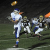 CARL RUSSO/Staff photo. Haverhill defeated Methuen 41-20 in Friday night football action.    Methuen's Brian Cole (2) is unable to hold onto this pass. 10/26/2012.