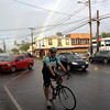 Short break in rain just before departure in Paia.  Rainbow must be a good sign, right?