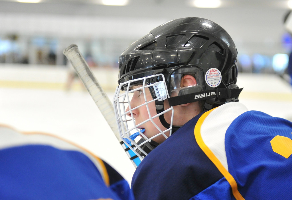 Justin Sheely   The Sheridan Press<br /> Sheridan's Matthew Hooge looks on from the Hawks' bench during the WAHL High School B State Championship at Whitney Ice Rink in the M&M's Center Sunday, Feb. 25, 2018. The Hawks beat Laramie 4-3 to claim their first state title in 12 years.