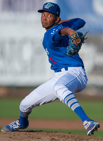 Edwin Uceta (15) starts the game pitching for the Ogden Raptors at Lindquist Field in Ogden, on Tuesday July 18, 2017. The Raptors take on the Helena Brewers in the home game.