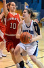 North Penn's Brianna Cullen ,21, goes in for a shot past Souderton's Katie O'Connor ,10,  during first half action of their contest at North Penn High School on Wednesday January 15,2014. Photo by Mark C Psoras