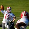 SAM HOUSEHOLDER   THE GOSHEN NEWS<br /> Goshen junior quarterback C.J. Detweiler attempts a pass to junior receiver Rummel Johnson during the game against Fairfield Friday.