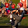 SAM HOUSEHOLDER   THE GOSHEN NEWS<br /> Goshen junior defensive back Rummel Johnson intercepts a Fairfield pass intended for senior receiver Wes Coble during the game Friday.