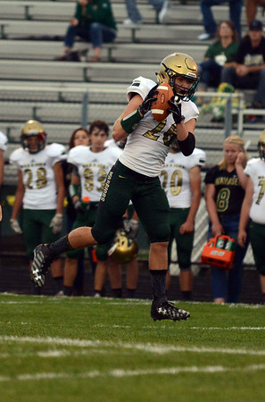 HALEY WARD | THE GOSHEN NEWS <br /> Wawasee running back Paul Mendoza catches a pass during the game against Concord Friday at Concord High School.