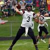 HALEY WARD   THE GOSHEN NEWS<br /> NorthWood quarterback Trey Bilinski passes during the game against Fairfield Friday at Fairfield Junior-Senior High School.